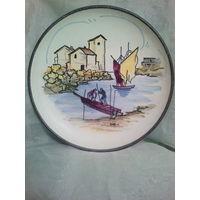 Винтажная настенная тарелка STEULER Германия 50-е г.,Handgemalt,ручная роспись.Керамика.Диаметр 31 см.