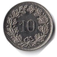 Швейцария. 10 раппенов. 1989 г.