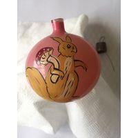 Елочная игрушка СССР шар роспись белка
