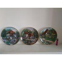Английские коллекционные декоративные тарелки серии Lilliput Lane фарфоровой мануфактуры Франклин Минт.Лимитированная серия 1991г.Коллекцич из 6 тарелок.