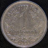 YS: Германия, Третий рейх, 1 рейхсмарка 1933D, никель, КМ# 78