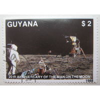 Гайана марка 1988 г. 20-ти летие высадки на Луну