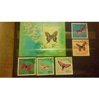 Насекомые, бабочки, фауна, марки, Мадагаскар, 1984, блок и 5 марок
