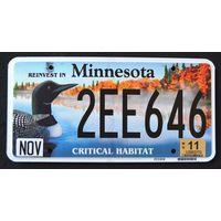 Номер автомобильный США  Minnesota duck