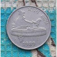 Индия 50 пайс 1989 года, AU. Карта Индии. Столица Нью-Дели.