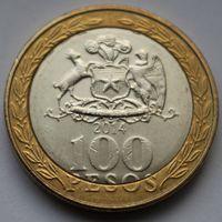 Чили, 100 песо 2014 г