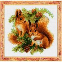 Набор для вышивки крестом Белочки  РИОЛИС Россия (25 Х 25 см)