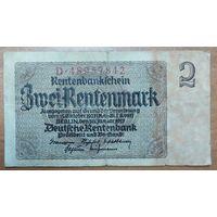 2 рентмарки 1937 года - Германия (Ro.167b)  - широкий номер 8 цифр