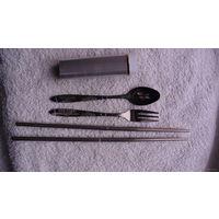 Походный набор из нержавейки: палочки, ложка, вилка, футляр. распродажа