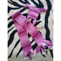 Шапочка и шарфик комплект для ребенка ''Собачка розовая''