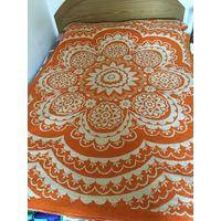 Одеяло шерстяное СССР Оранжевое в цветы