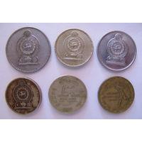 Монеты Шри-Ланка 1, 2 и 5 рупий. 1986, 2000, 2002, 2004 и 2007 года. Цена за все