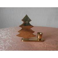 Подсвечник латунный тяжелый Елочка Германия высота 12.5 см., диаметр свечи 2 см.