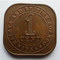 """Малайя и Британское Борнео 1 цент 1956 """"Королева Елизавета II"""""""
