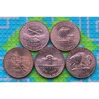 США 5 центов Освоение Дикого Запада. Бизон. Франклин Бенджамин. UNC. Инвестируй в монеты планеты!