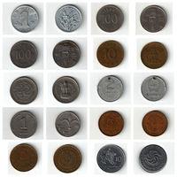 Набор монет (Китай, Южная Корея, Индия, Монголия, Израиль, Казахстан, Узбекистан, Грузия) 10 штук одним лотом.