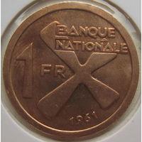 Катанга 1 франк 1961 г. В холдере (gk)