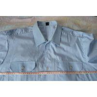 Голубая рубашка (тениска, сорочка) с коротким рукавом, р. 44 по вороту (Германия). Большой размер!