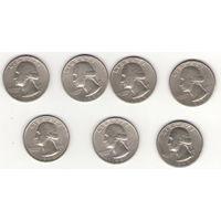 США 25 центов (квотеры) 7 штук все разные