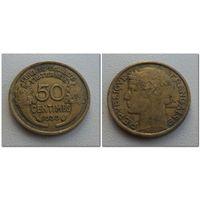 50 сантим Франция 1939 год, KM# 894.1, 50 CENTIMES, первая - из мешка