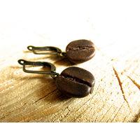 Серьги ручной работы с кофейными зёрнышками