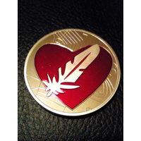 Сувенирная монета красное сердце и перо