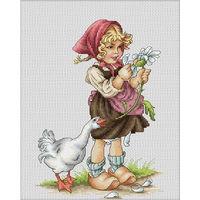 Набор для вышивки крестом. Девочка с гусем. Luca-S / В1047