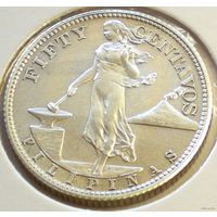 Филиппины, 50 сентаво 1944 года (S), Ag 750/ 10 грамм