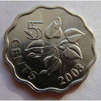 Свазиленд 5 центов 2003 г
