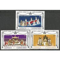 Гренада Гренадины. Королева Елизавета II. 25 лет на троне. 1977г. Mi#217-19. Серия.