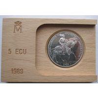 Испания, 5 экю, 1989, серебро, пруф