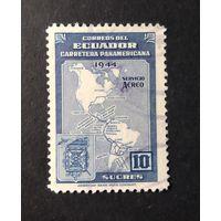 ЭКВАДОР \1636\  1946.Эквадор. Завершение строительства Панамер-кой автодороги. КАРТА