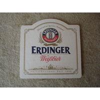 """Подставка под пиво (бирдекель) """"ERDINGER"""" (Германия).(2)."""
