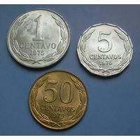 Чили. 3 монеты 1-5-50 сентаво.