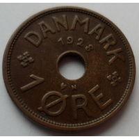 """Дания 1 эре 1928 """"Монограмма короля Кристиана Х"""""""