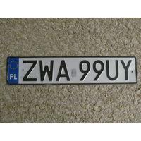 Автомобильный номер Польша ZWA99UY