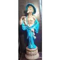 Антикварная статуэтка. Синяя глазурь. Династия Цин. Китаец.