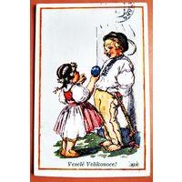 Пасхальная открытка. Чехия. 1939 г. Подписана. марка.