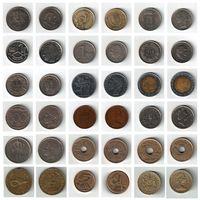Набор монет (Нидерланды, Кипр, Бельгия, Швейцария, Италия, Великобритания, Испания, Мальдивы) 18 штук одним лотом.