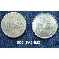 W: Турция 10000 лир 1996 + 10000 лир 1997 = РАЗНЫЕ (874)