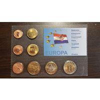 Пробный Евро Набор-1 Цент-2 Евро-Хорватия-2006-АЦ+сертификат