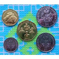 Гаити 5, 20, 50 сентисимо, 1, 5 гурд. UNC. Инвестируй в монеты планеты!