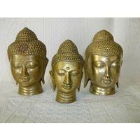 3 Старенькие головы Будды. Латунь, одним лотом.