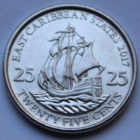 Восточные Карибы, 25 центов 2017 г