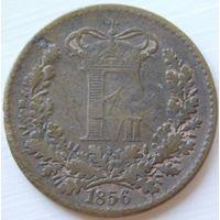 6. Дания 1 скиллинг 1856 год*
