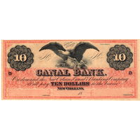 $10 The Canal Bank New Orleans, LOUISIANA, 1800's, UNC. Редкие!