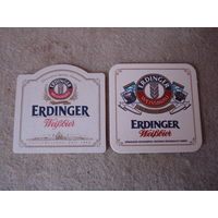 """Две подставки под пиво (бирдекели) """"ERDINGER"""" (Германия)."""