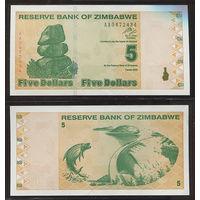 "Распродажа коллекции. Зимбабве. 5 долларов 2009 года (P-93 - 2009 ""Chiremba Rocks"" Issue)"