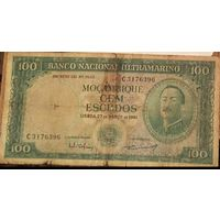 Мозамбик 100эскудо 1961г  без надпечатки. НЕЧАСТАЯ