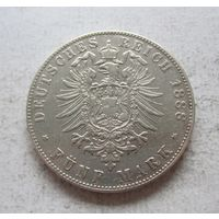 Гамбург Германская империя 5 марок 1888 старый герб - редкий год!
